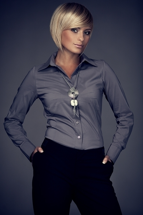 Dámská košile M021 grey - S - šedá