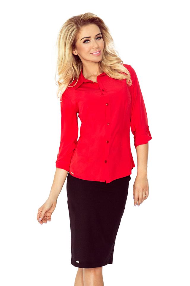 Červená dámská košile s knoflíky MM 017-1