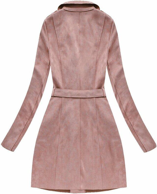 Semišový kabát ve starorůžové barvě (6004BIG) - 46 - růžová