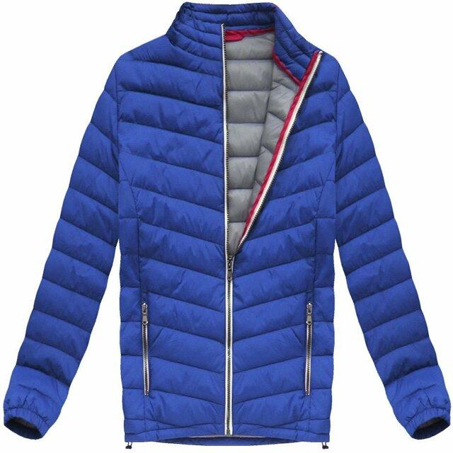 Prošívaná bunda v chrpové barvě (21872) - M - modrá