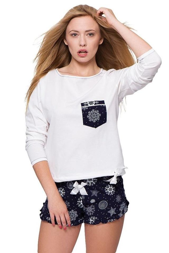 Dámské pyžamo Andrea sněhové vločky - XL