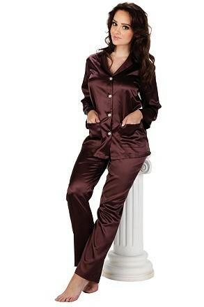 Dámské saténové pyžamo Classic dlouhé plum - S