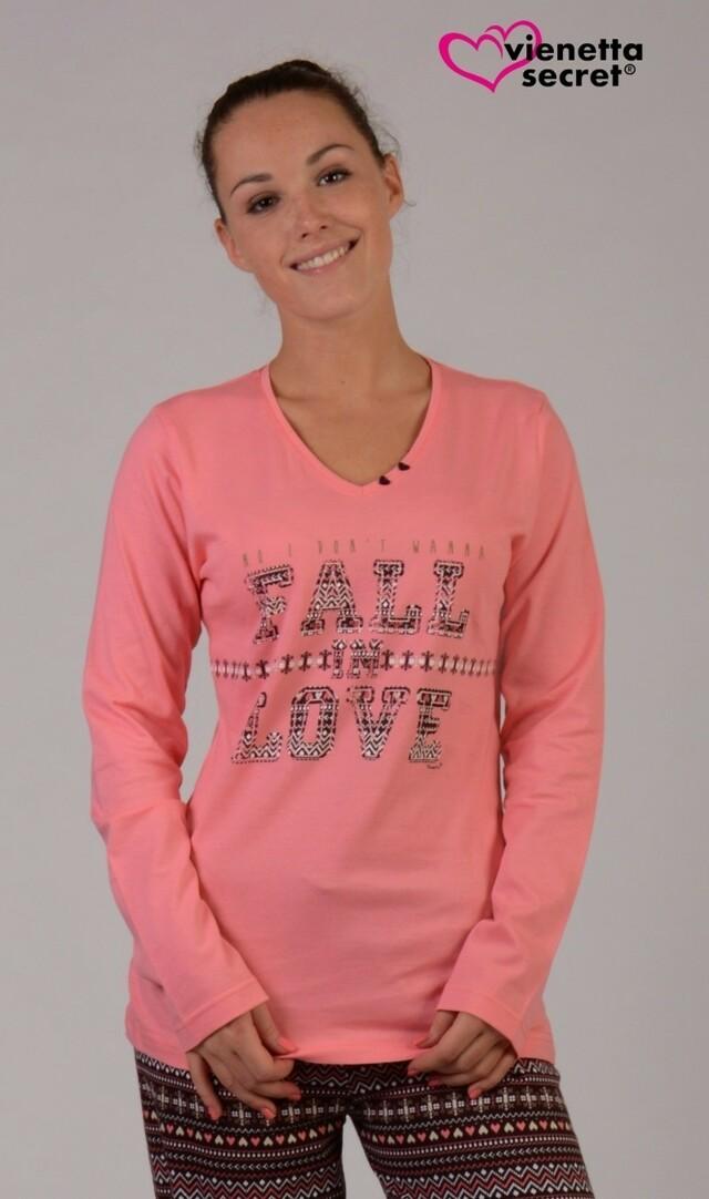 Dámské pyžamo dlouhé Fall in love - lososová XL