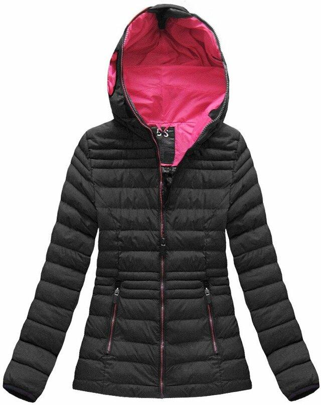 Černo-růžová dámská zimní bunda s brýlemi (CX582W)