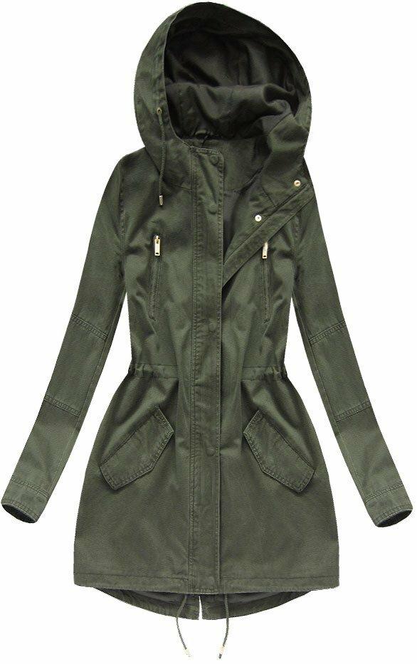 Tmavě modrá bunda parka s kapucí (X7099X) - S (36) - khaki