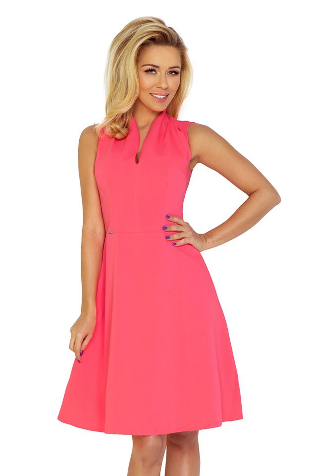 Neonové šaty se stojáčkem ve výstřihu 133-4 - XL