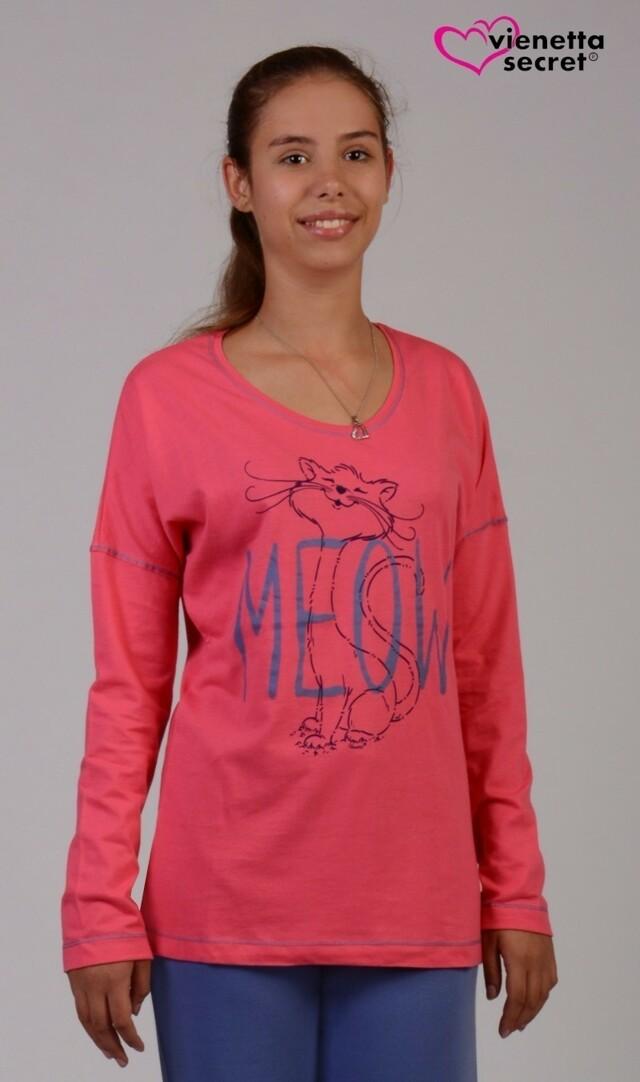 Dámské pyžamo dlouhé Kočka Meow - světle šedá S