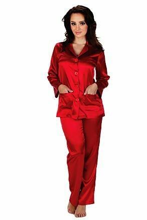 Dámské saténové pyžamo Classic dlouhé červené - S