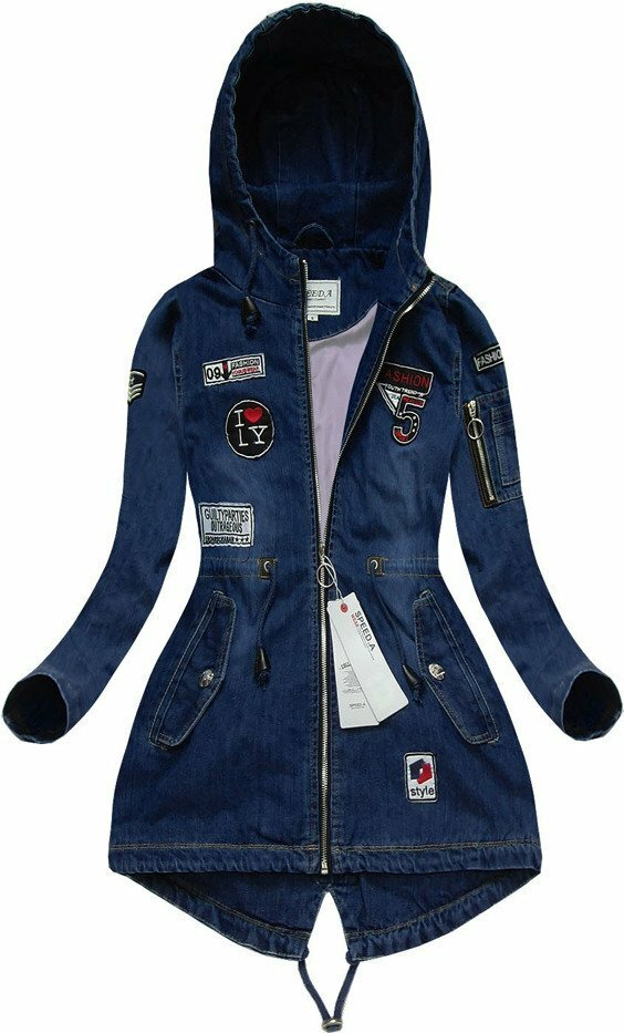 Tmavě modrá džínová bunda s nášivkami (W514) - S (36) - tmavěmodrá