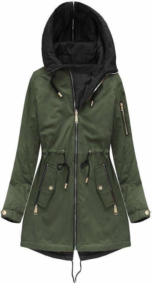 Oboustranná dámská khaki bunda 2 (W636BIG) - 54 - khaki