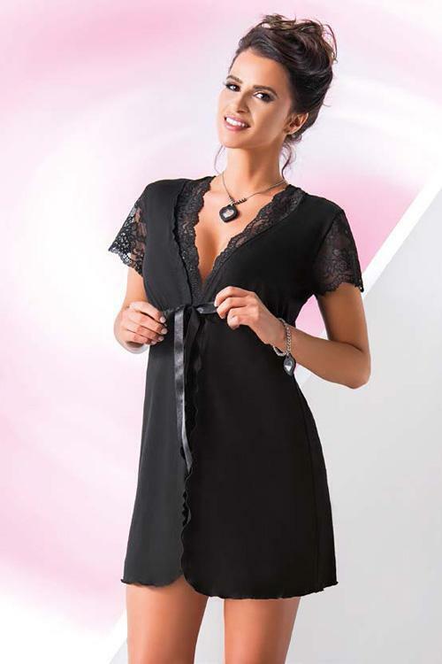 Dámský župan Donna Megi SZ black - XL - černá