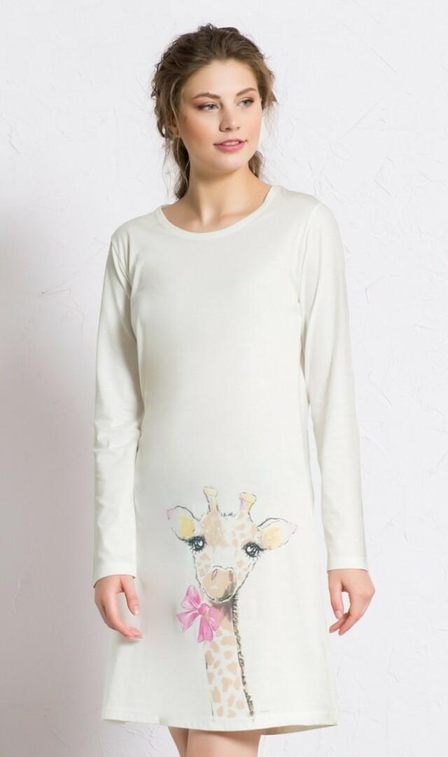 Dámská noční košile s dlouhým rukávem Velká žirafa - smetanová S