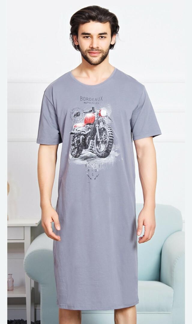 Pánská noční košile s krátkým rukávem Motorka - šedá M