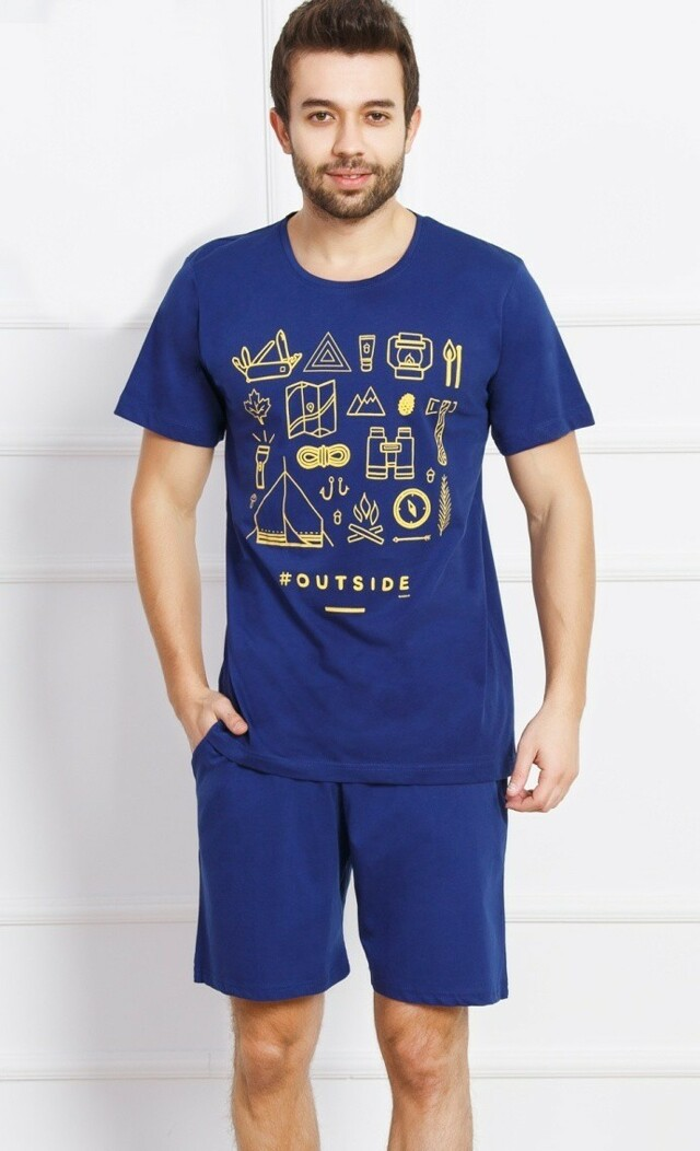 Pánské pyžamo šortky Outdoor - tmavě modrá XL