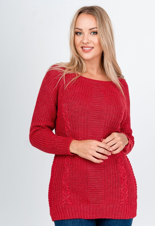 Dámský svetr s pleteným vzorem SW51 - ZOiO - uni - černá