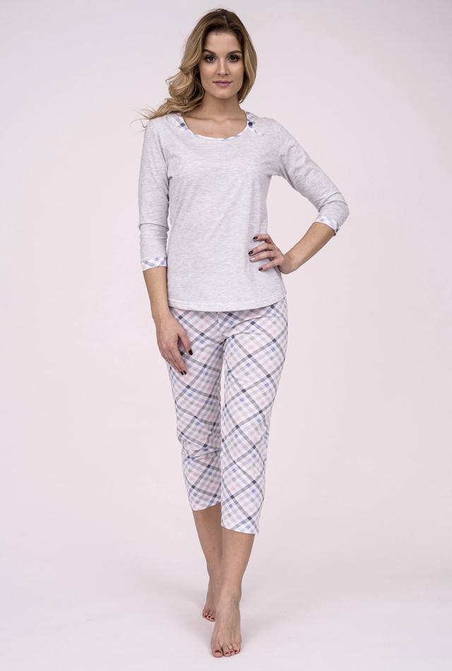 Dámské pyžamo Cana 190 3/4 S-XL - XL - šedá-sv.růžová