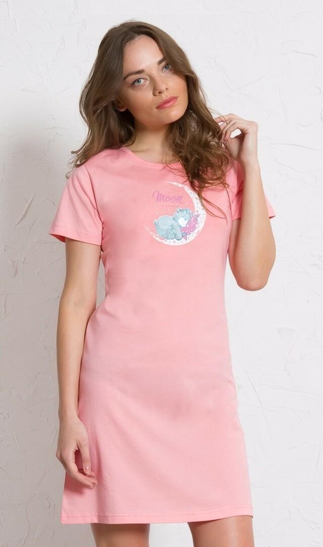 Dámská noční košile s krátkým rukávem Méďa na měsíci