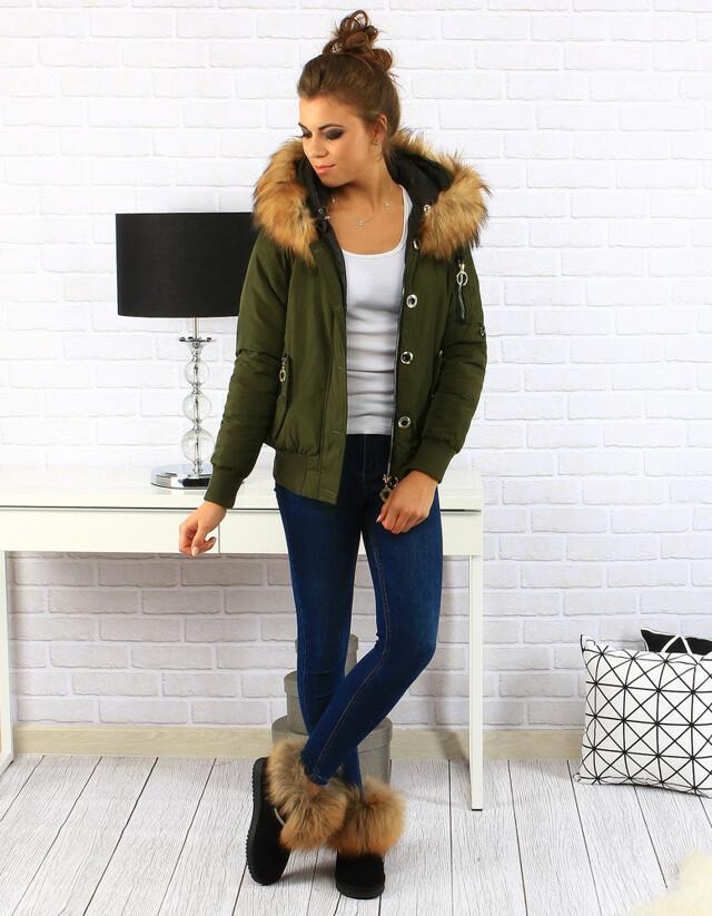 Dámská oboustranná zimní bunda s kapucí MHM-W708 (ty0156) - MHM fashion - S - olivovo zelená