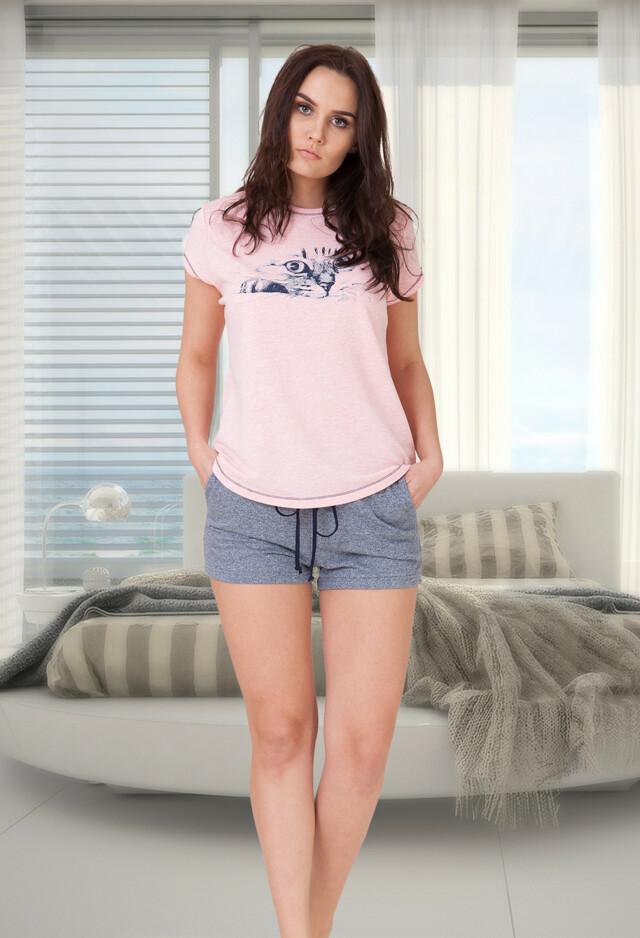 Dámské pyžamo M-Max Angela 616 kr/r S-XL - L - růžová žíhaná