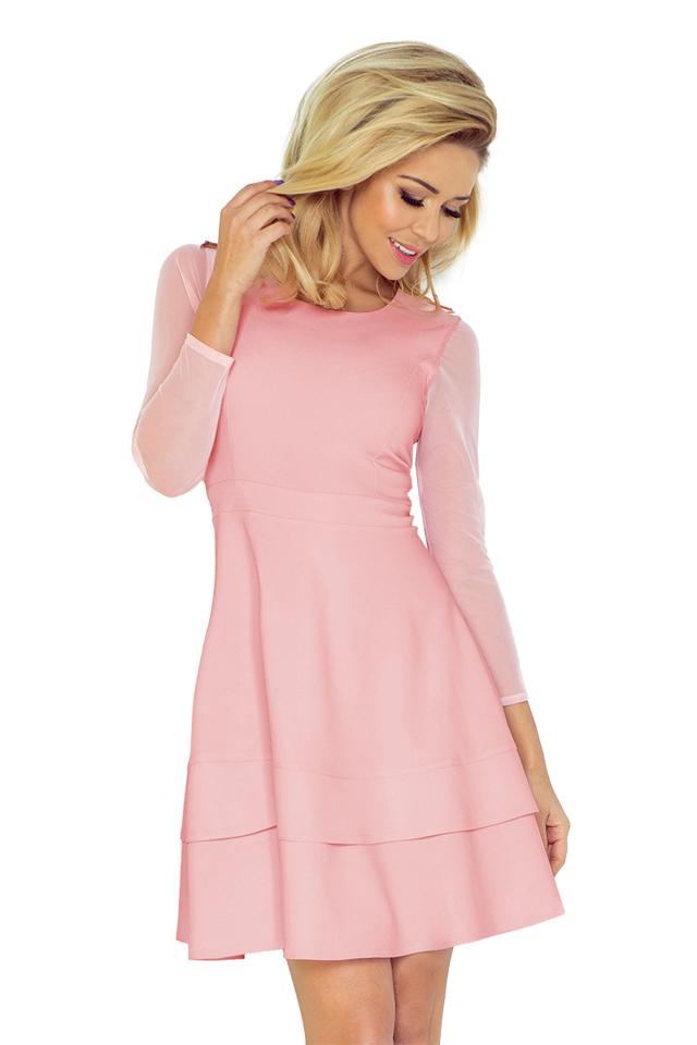 b9463d6c166 Pastelově růžové šaty s tylovými rukávy 141-7 - XS