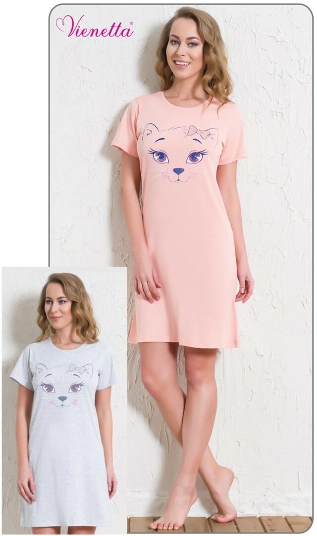 Dámská noční košile s krátkým rukávem Kočka