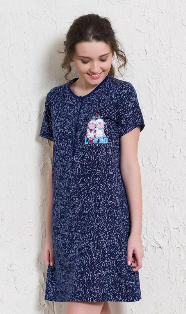 Dámská noční košile s krátkým rukávem Ovce Friends - modrá L