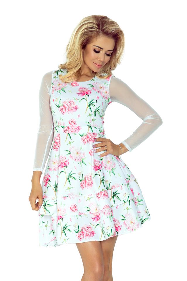 Bílé šaty s tylovými rukávy a květovaným vzorem 141-5 - XS
