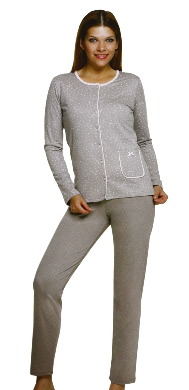 Dámské pyžamo 45008 - Sabrina - 4XL - šedo-růžová