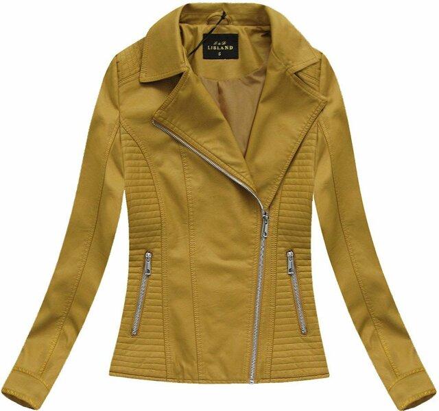 Klasická bunda ramoneska v hořčicové barvě (5326BIG) - 50 - žlutá
