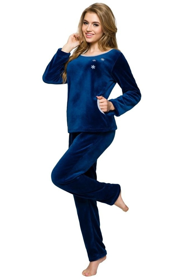 Soft dámské pyžamo Berta modré s výšivkou - S