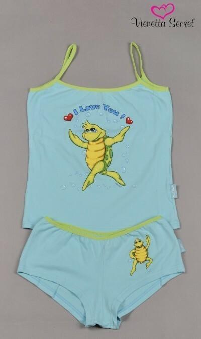 Dámské pyžamo šortky ramínka Malá želva - tyrkysová S