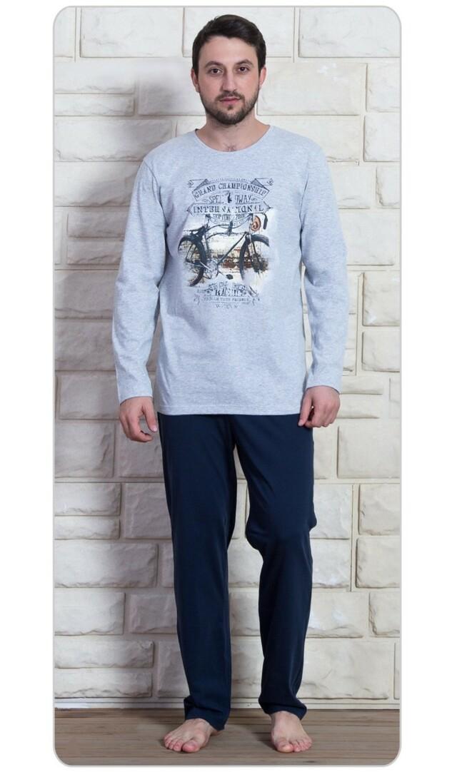 Pánské pyžamo dlouhé Kolo - šedá 1XL