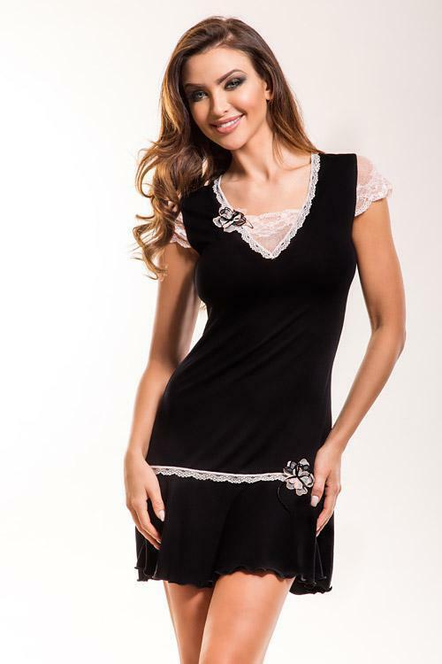 Noční košilka Hamana Aurora black - XL - černá