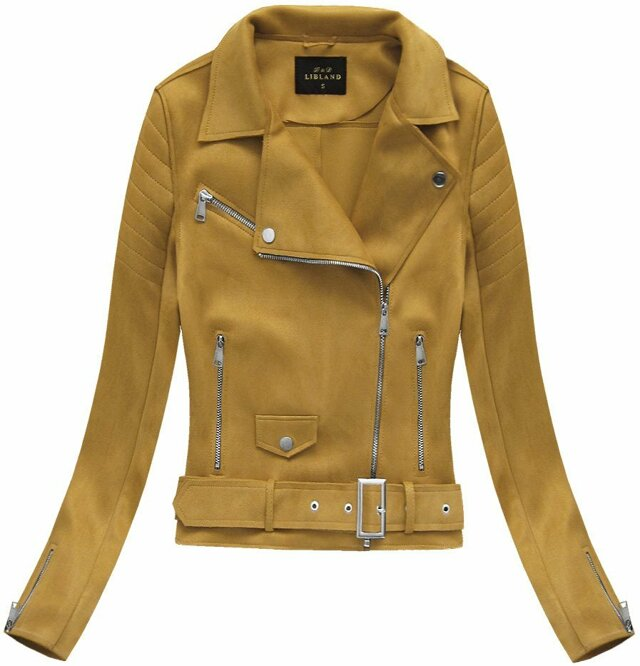 Semišová bunda ramoneska v hořčicové barvě s přezkou (6002) - L (40) - žlutá