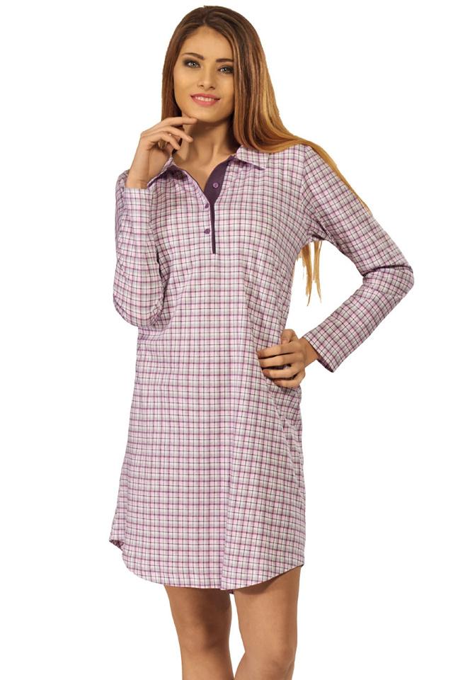Košile na spaní Beáta károvaný vzor - L