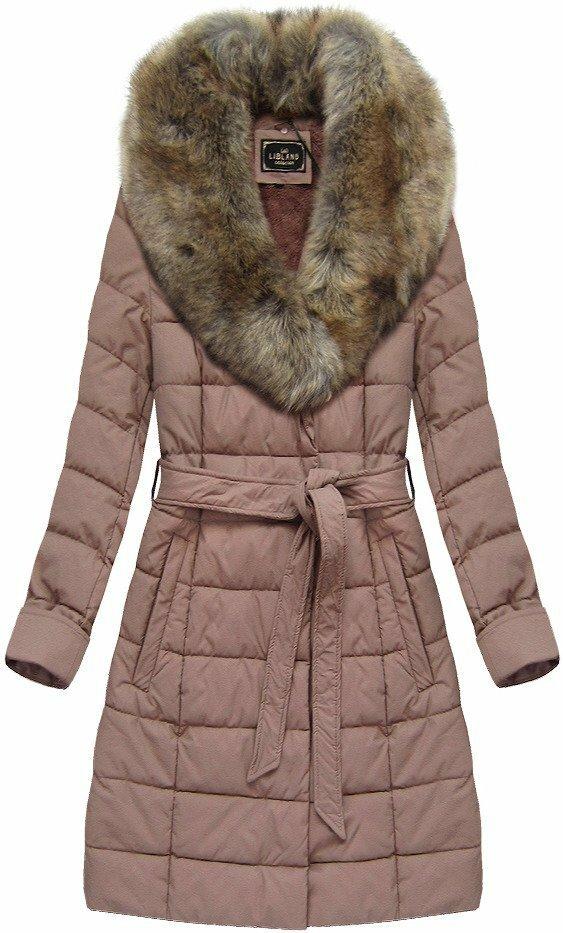 Kabátek ve starorůžové barvě z eko kůže, s kožíškem (5527BIG) - 48 - růžová