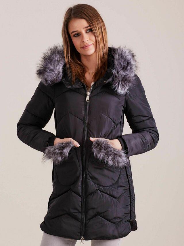 Dámská zimní bunda s kožešinou, černá - XXL