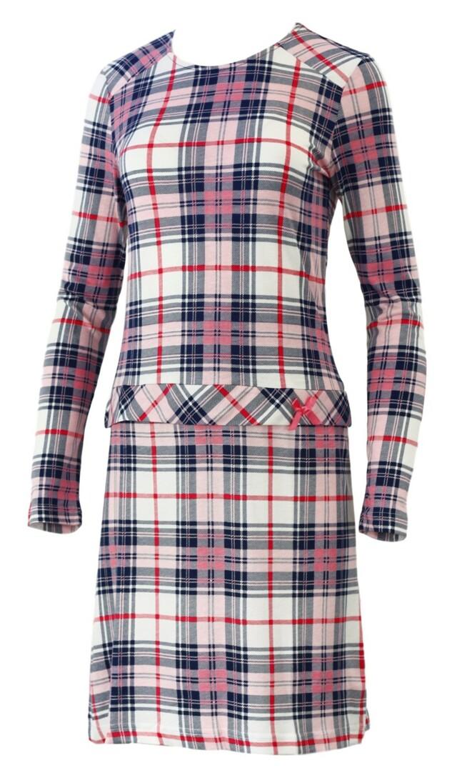Dámská noční košile 22815 - Sabrina - L - růžovo-šedé káro