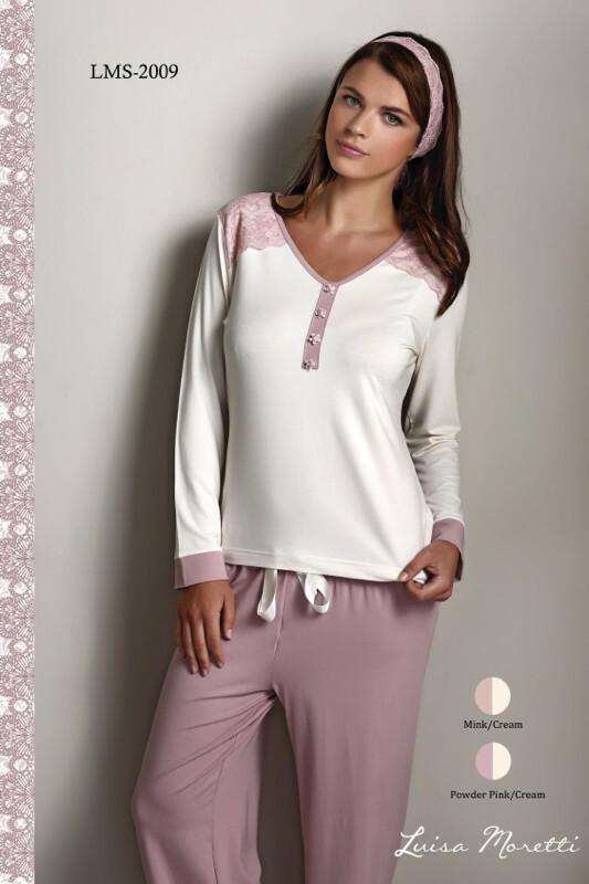 Dámské pyžamo LMS - 2009 Francesca - Luisa Moretti - S - starorůžová