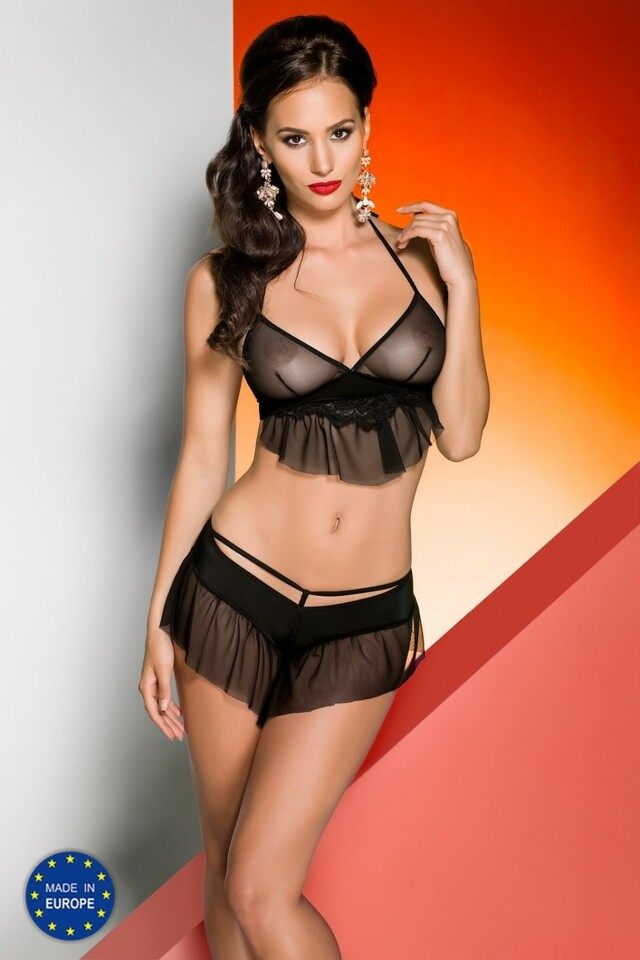 Erotická souprava Loretta set - L/XL - černá