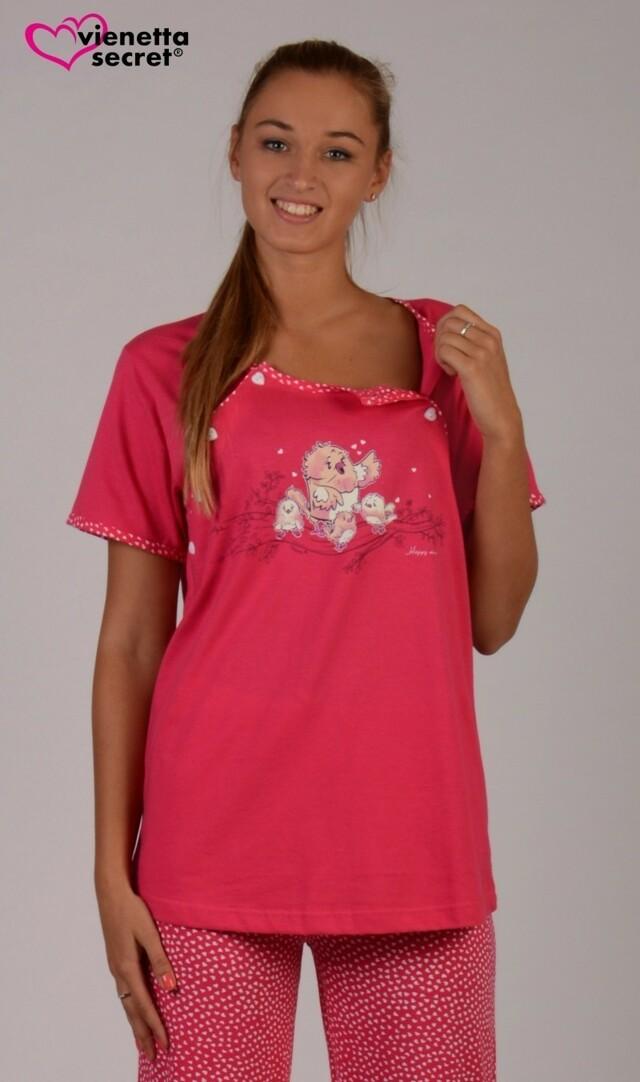 Dámské pyžamo dlouhé mateřské Ptáci v hnízdě - tmavě růžová XL