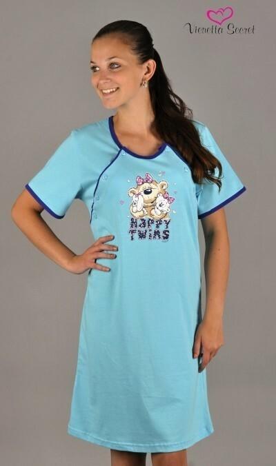 Dámská noční košile mateřská Happy twins - světle růžová XL
