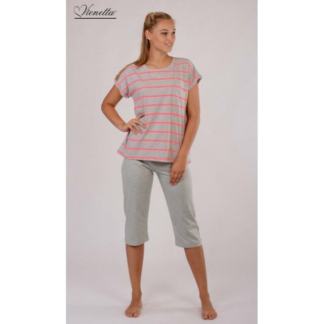 Dámské pyžamo 5008 - Vienetta - M - šedá s proužkem