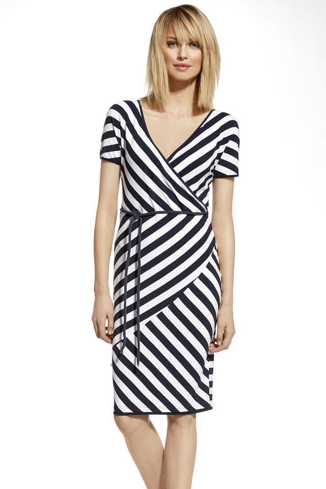 Šaty Ennywear 230056 - 40 - bílá-tm.modré proužky
