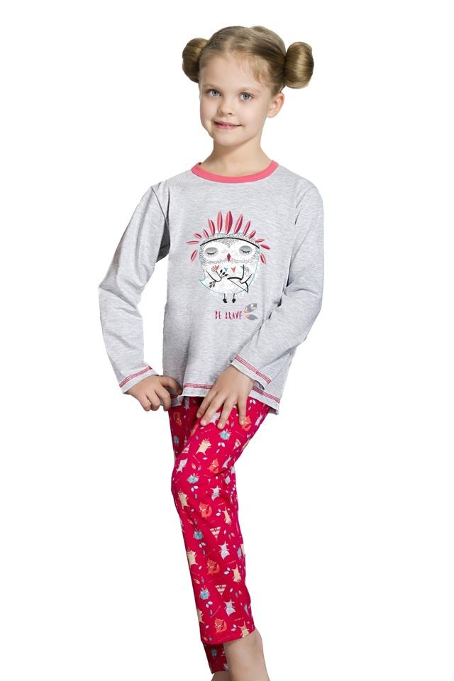 Dívčí  pyžamo Oda šedé s ptáčkem