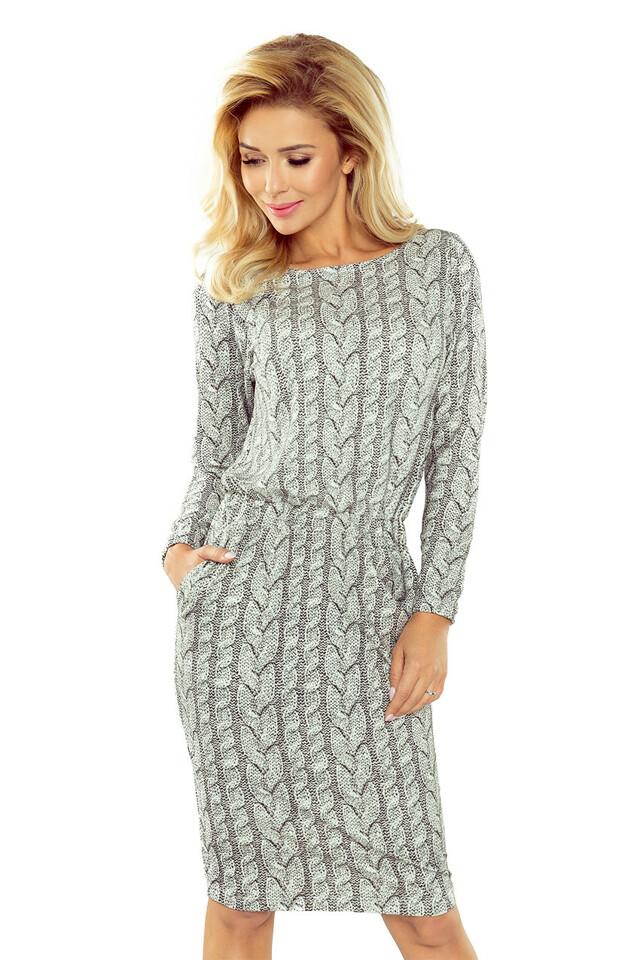9b74689c10b2 Svetrové šaty s nabíráním v pase 172-1 - XL