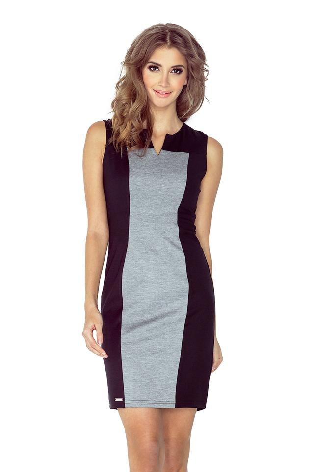 Dvojbarevné šedo-černé šaty MM 006-3 - M