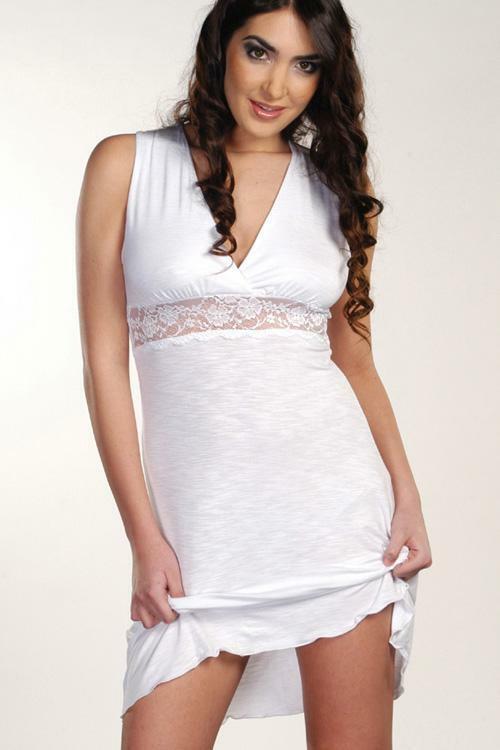 Noční košilka Violana Marina white - bez rukávů - S - bílá