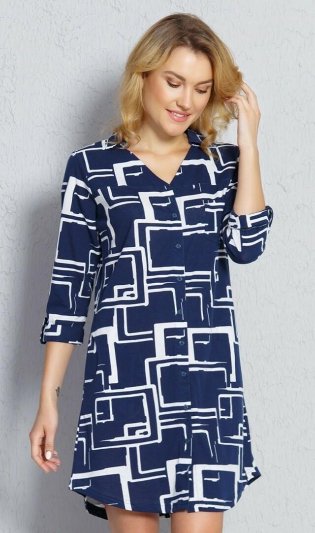Dámské domácí šaty s tříčtvrtečním rukávem Kateřina - tmavě modrá M