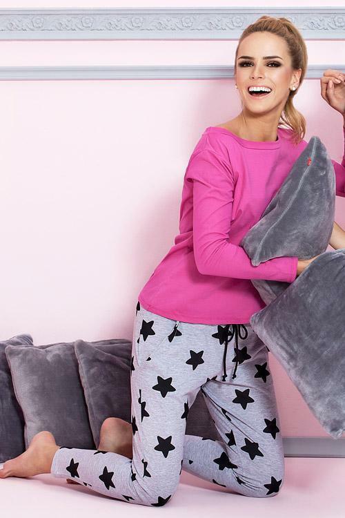 Dámské pyžamo Pigeon P-504/1 dark pink - L - tmavě růžová